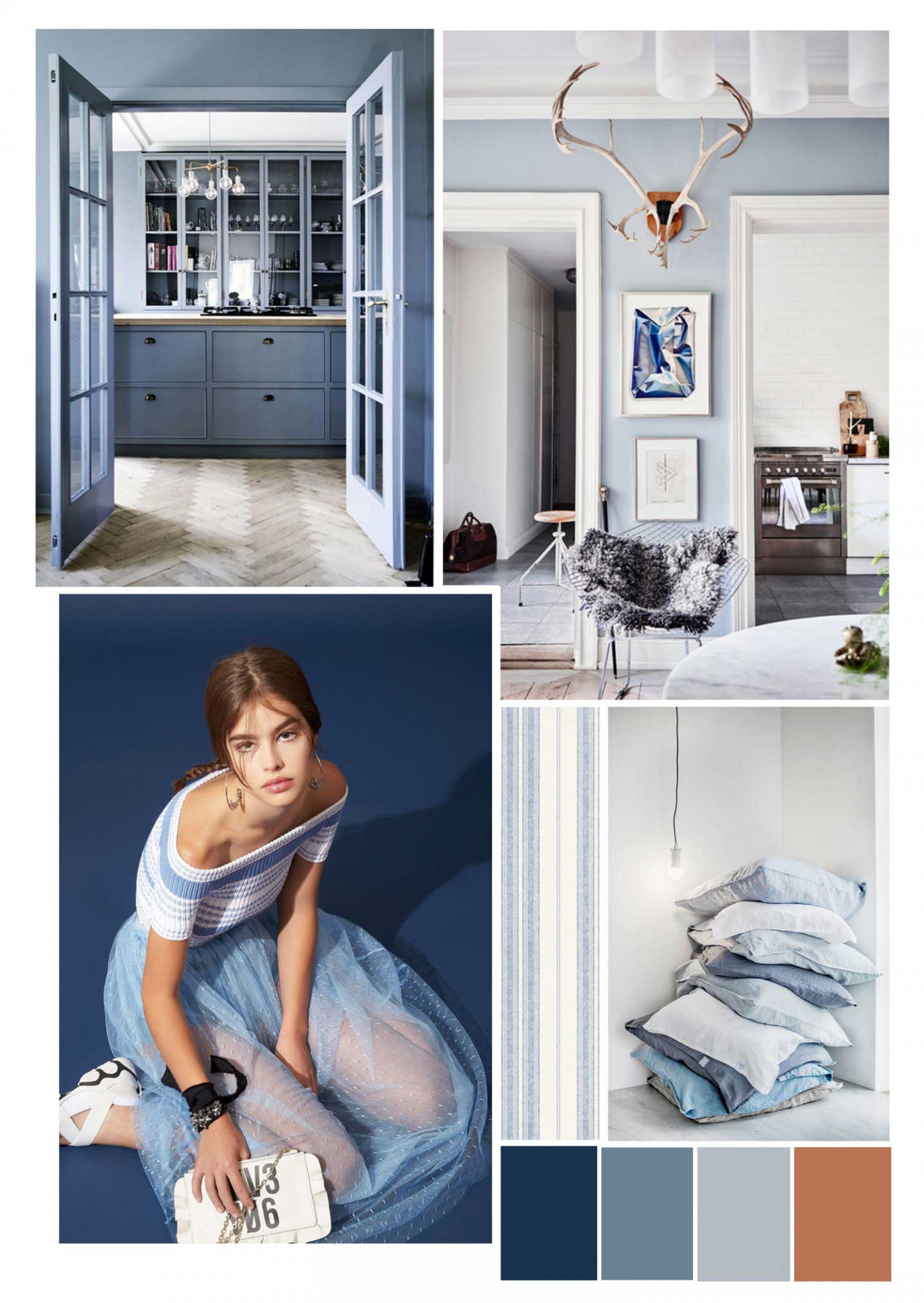 classic blue interior trend mood board