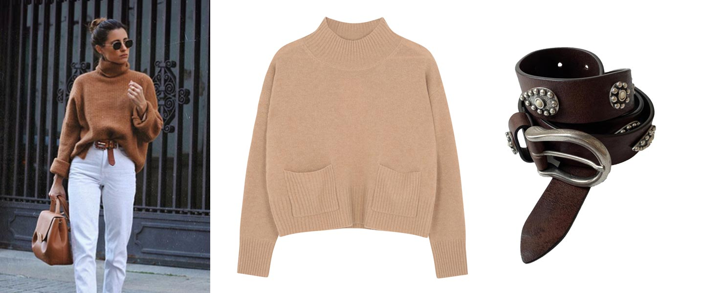 camel cashmere jumper and leather belt outfit inspiration
