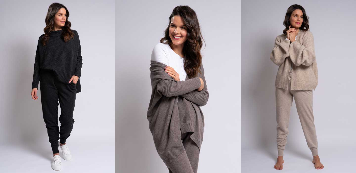cashmere joggers worn with different cashmere jumpers and cashmere cardigans