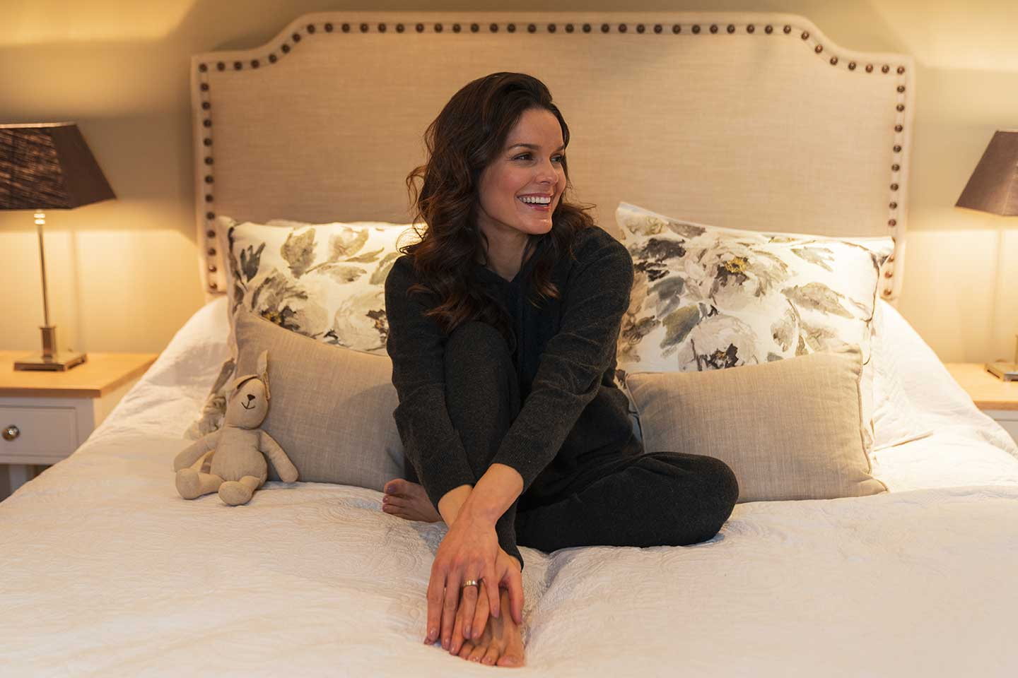 cashmere pyjamas and cashmere loungewear worn to bed
