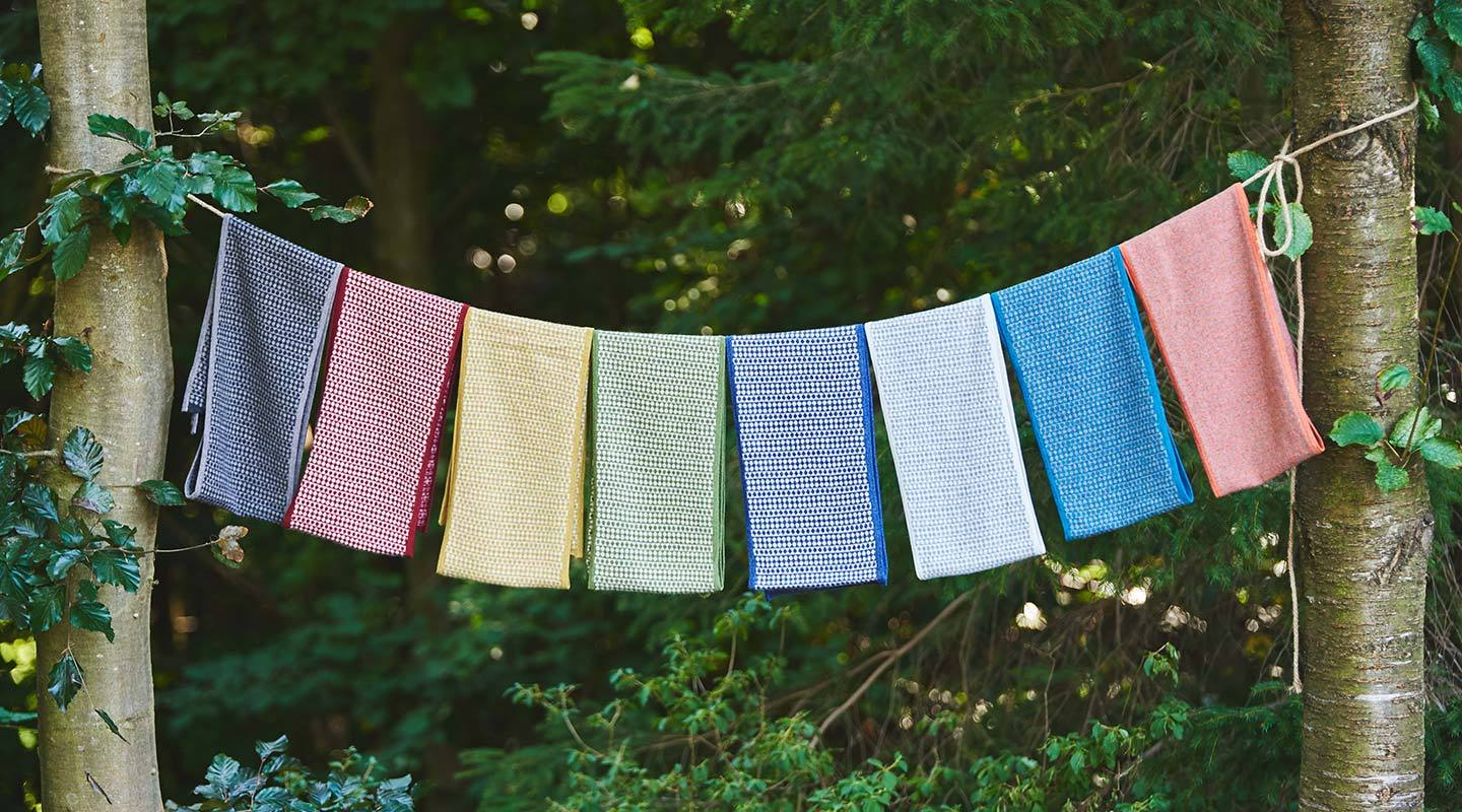 colourful-ditsy-scarves-hanging-on-a-washing-line-in-a-forest-inbetween-trees