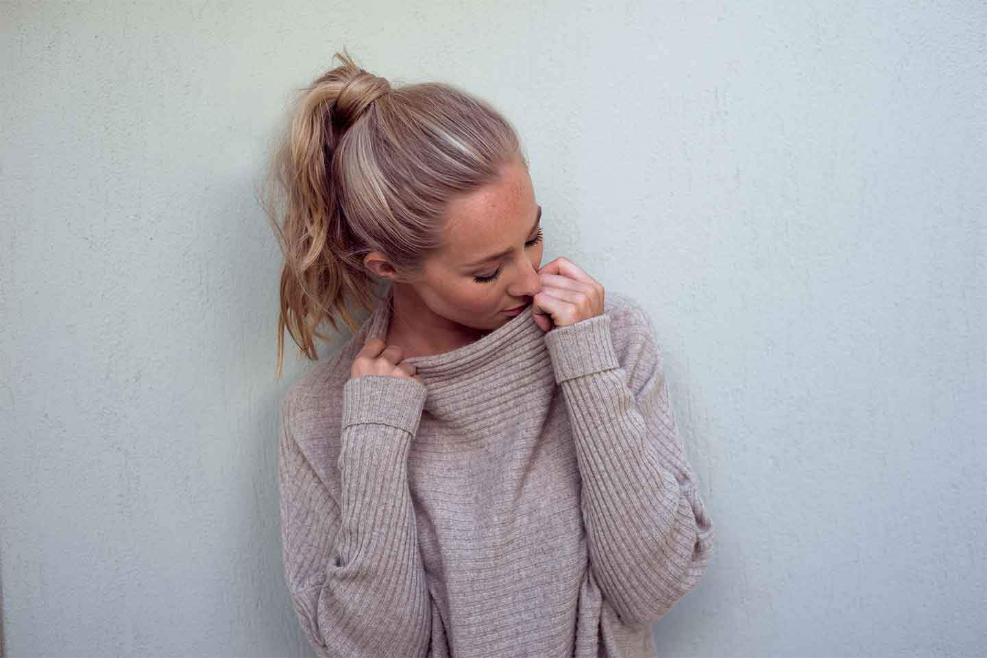 Girl in soft cashmere jumper
