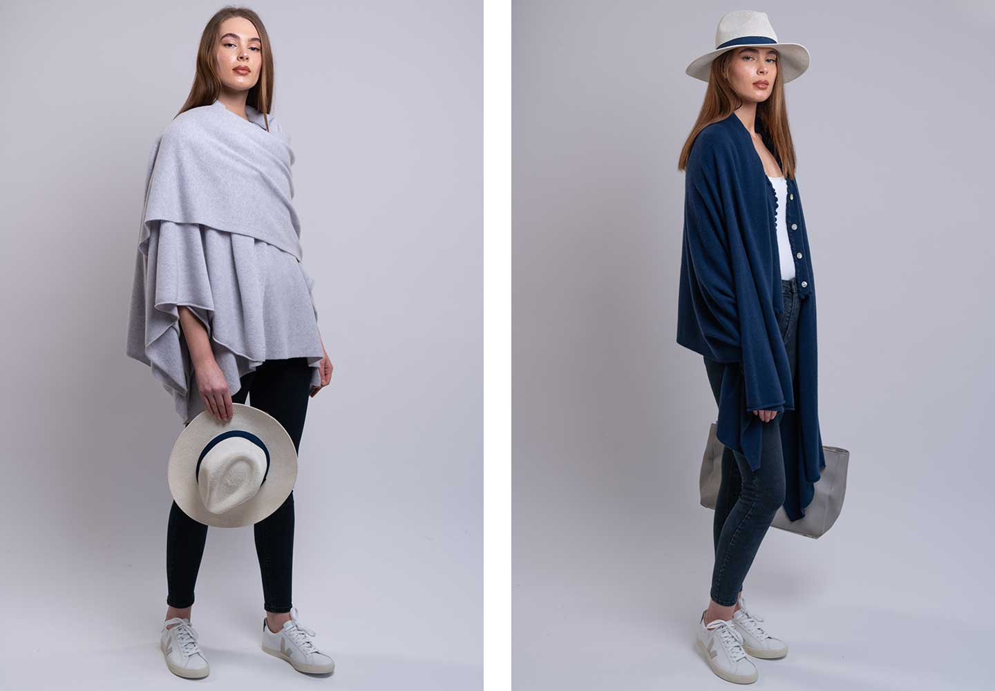 grey and navy cashmere wrap worn stylishly over cashmere knitwear