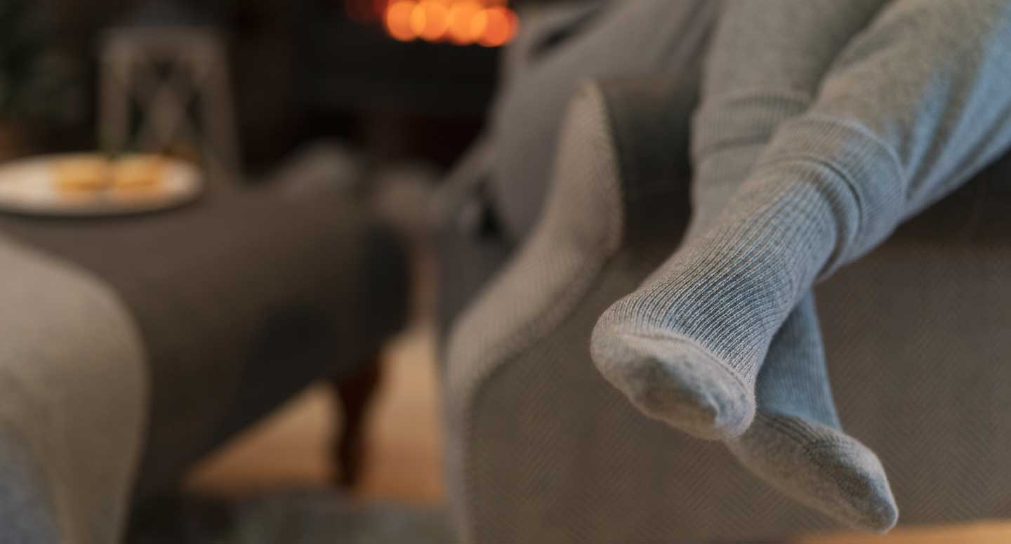 grey cashmere socks worn cosy at home with cashmere joggers