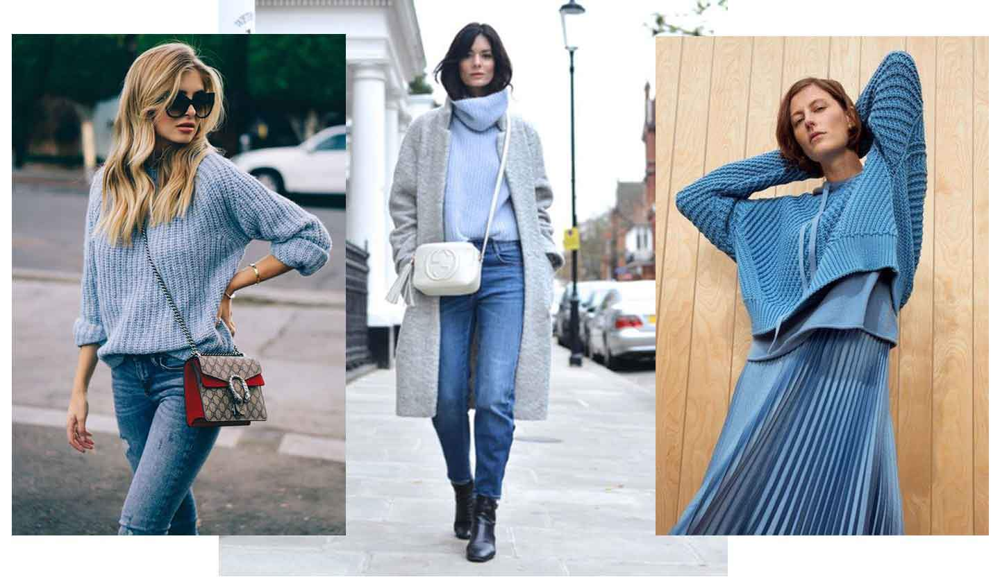 3 images of 3 women each wearing a blue knitted jumper with various outfit options