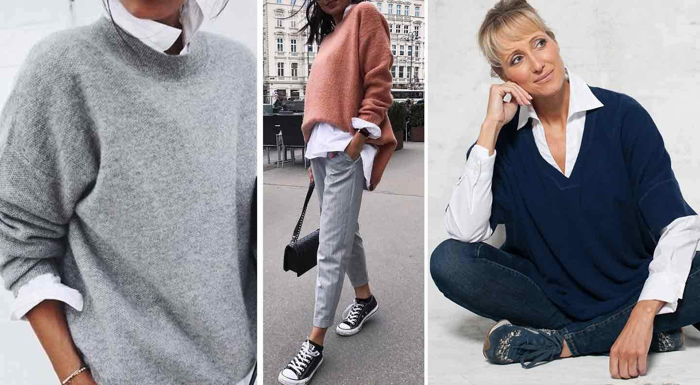a group of images of women in knitted jumpers worn over a white shirt