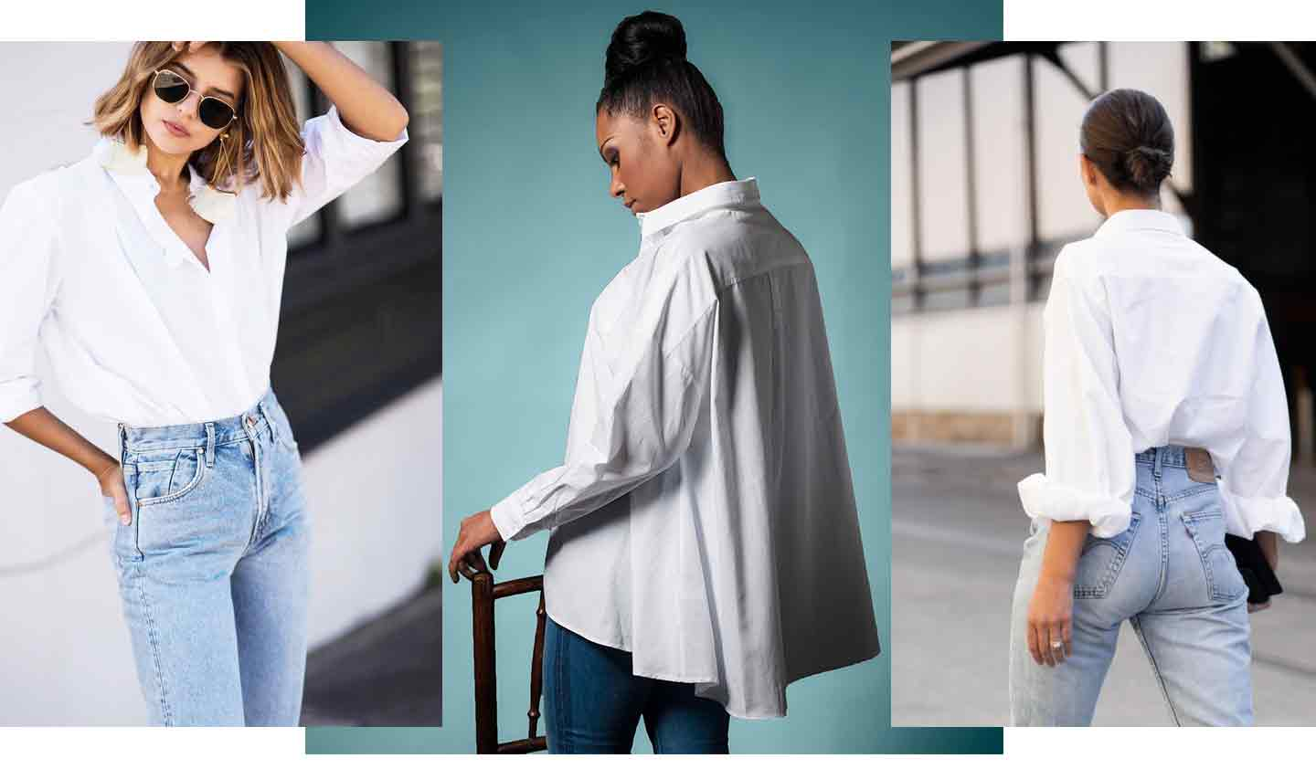 group-of-images-of-women-wearing-white-shirts-and-blue-denim-jeans
