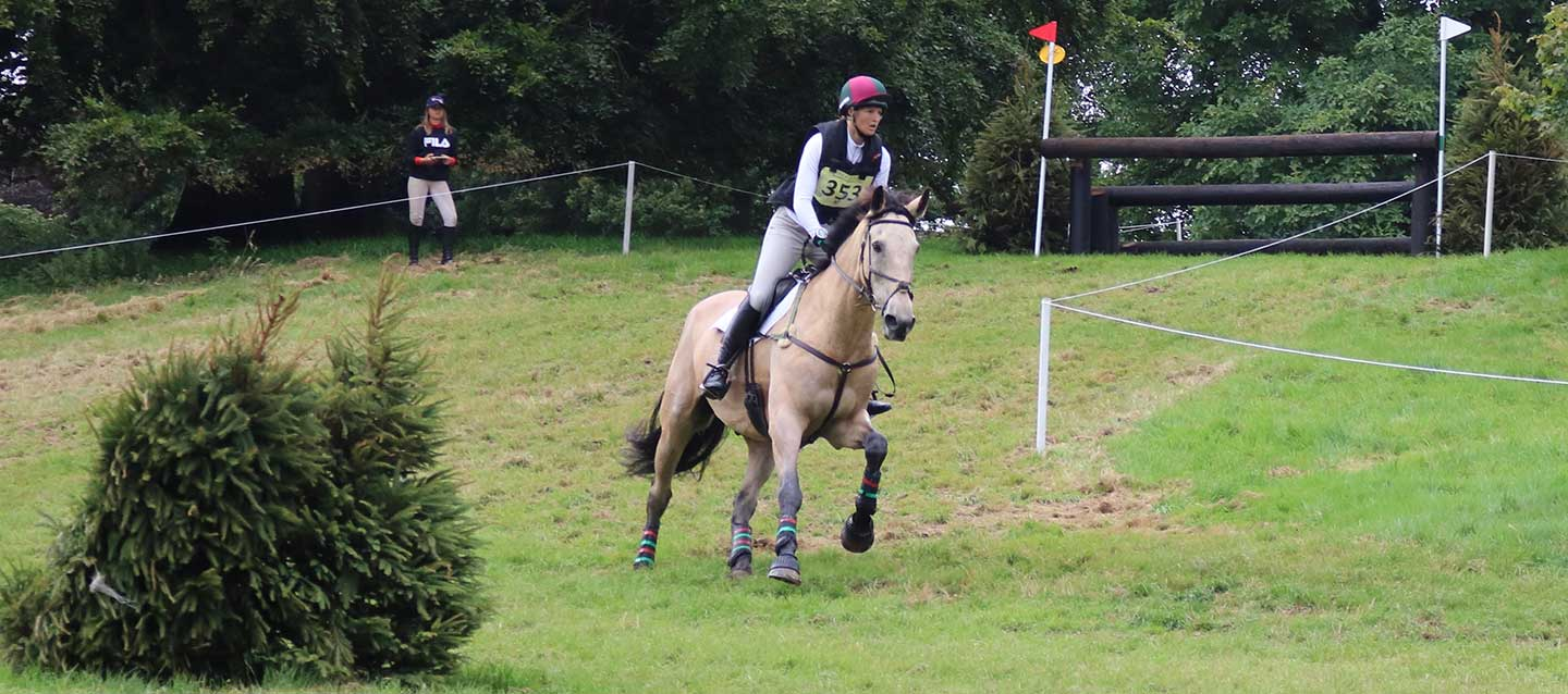 charlotte at the horse trial championships on the cross country course