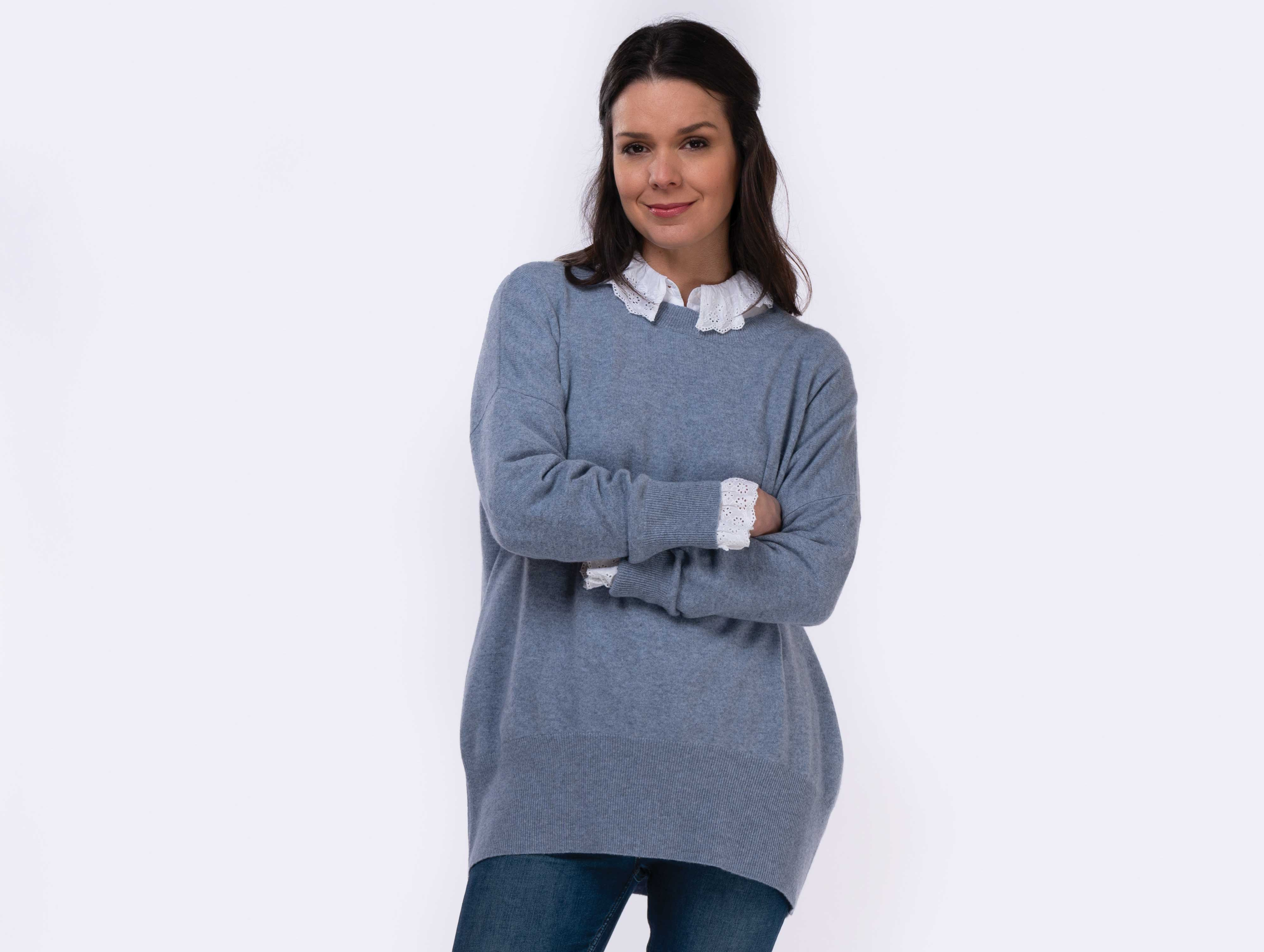 frill collar and cuff shirt worn with blue mist oversized cashmere jumper