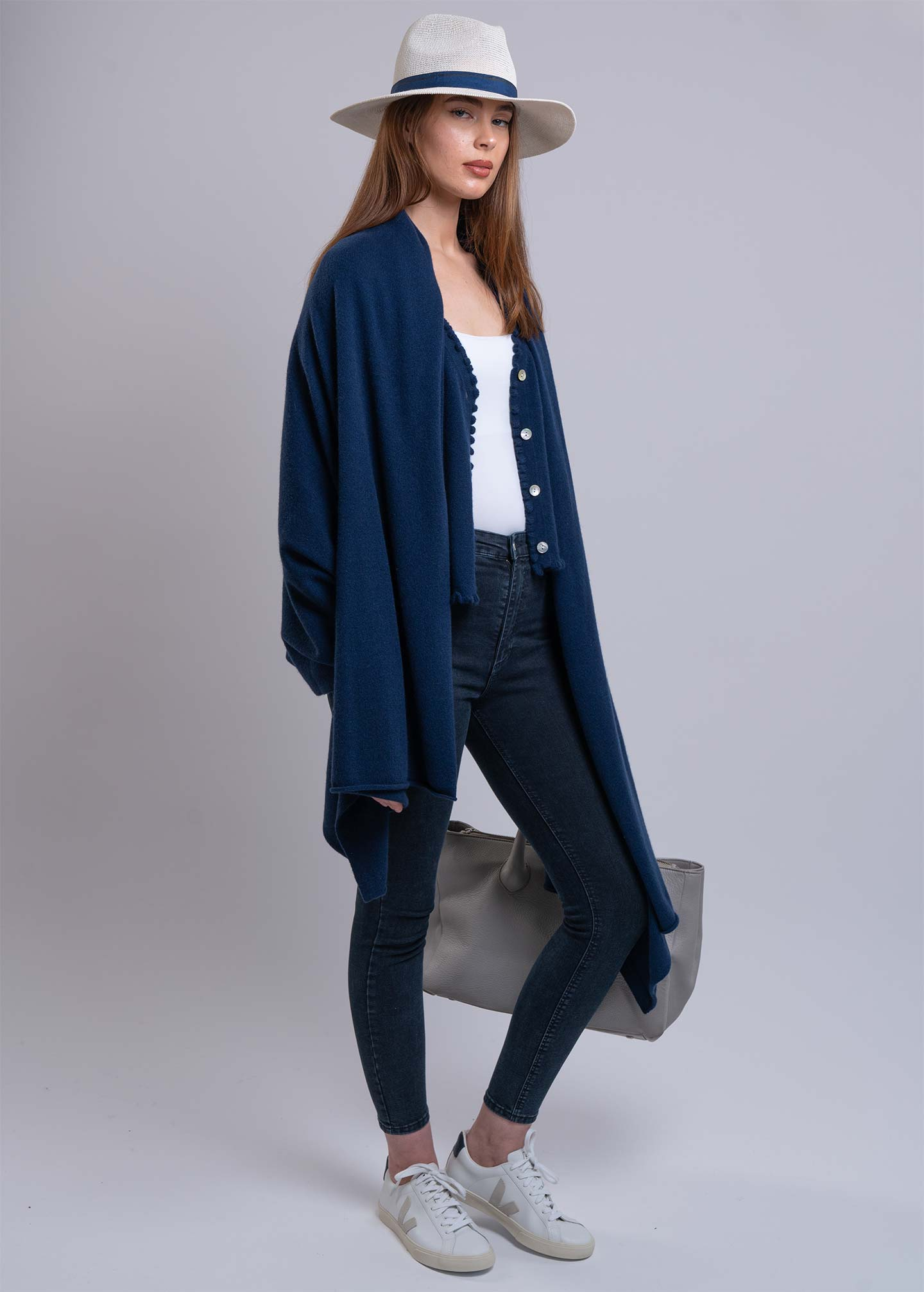 navy cashmere cardigan and cashmere travel wrap