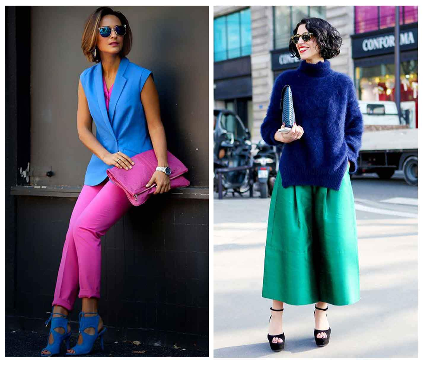 one-woman-leaning-against-a-wall-wearing-a-blue-waistcoat-with-pink-trousers-and-another-woman-wearing-a-blue-jumper-with-a-green-skirt-standing-in-the-street