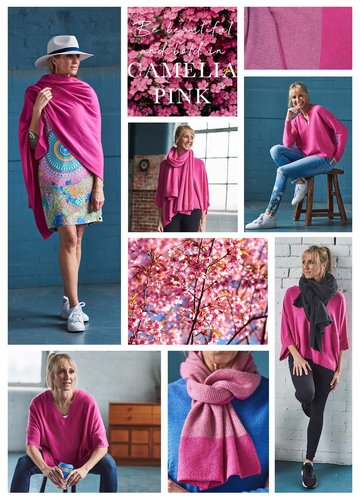 pink cashmere clothing images with pink blossom and textures