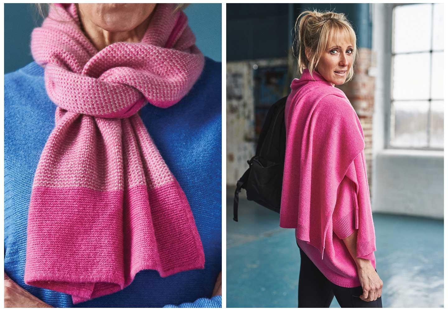 pink cashmere scarves thrown over models shoulder in a warehouse