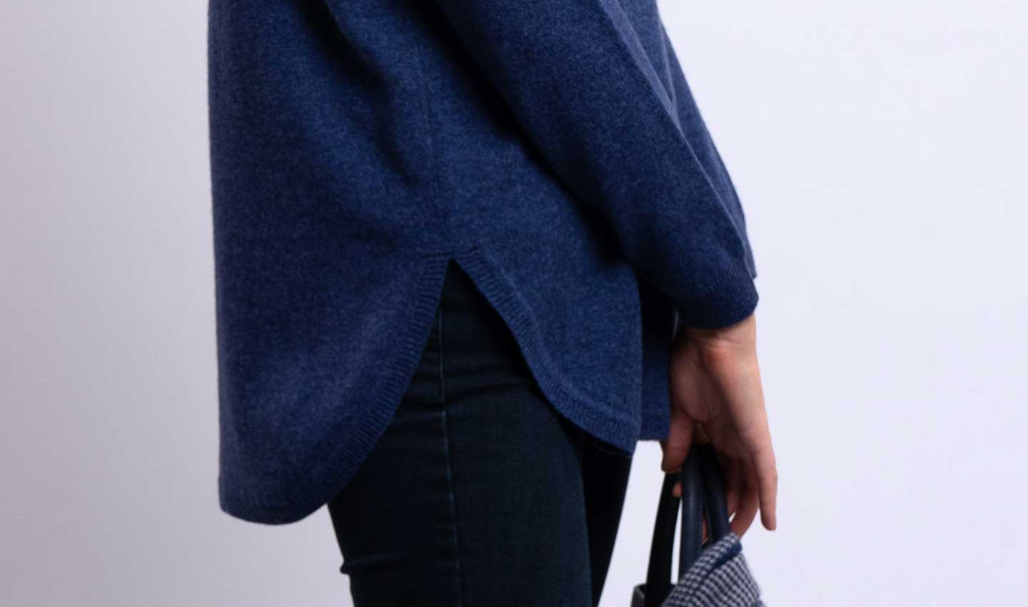 sally curved hem cashmere jumper in indigo blue