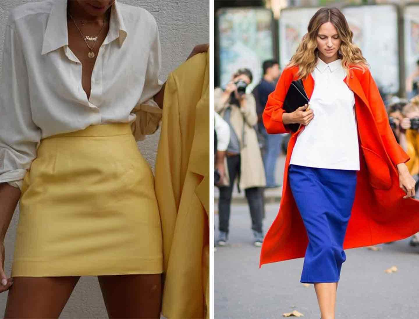 two images of woman wearing white shirts with colourful skirts