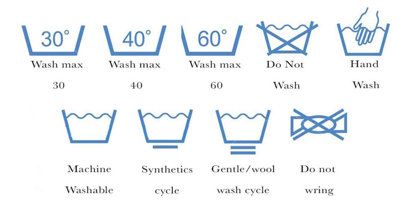 Washing symbols in two rows