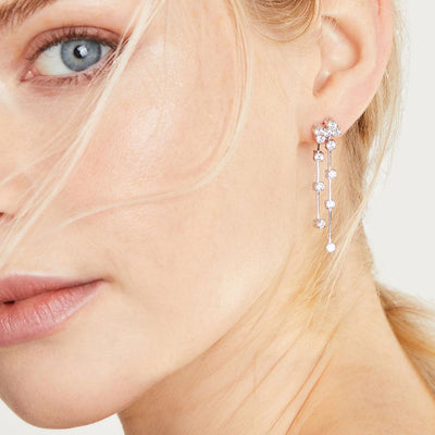 Sterling Silver Drop Scattered  Earrings With Cubic Zirconia StonesDrop Earrings - JOOLS By Jenny Brown