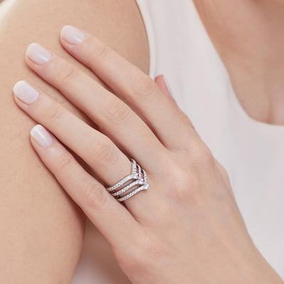 Sterling Silver Triple Wishbone  Band Ring Set With Cubic Zirconia StonesRings - JOOLS By Jenny Brown