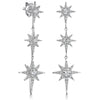 Sterling Silver Three Star  North Star Drop  Stud Earrings With Brilliant Zirconia StonesEarrings - JOOLS By Jenny Brown