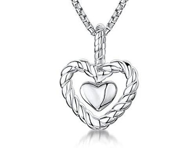 Sterling Silver Heart Within An Open Heart SurroundPendants - JOOLS By Jenny Brown