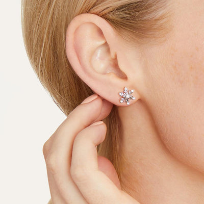 Sterling Silver Snowflake Stud Earrings Set with Cubic ZirconiaEarrings - JOOLS By Jenny Brown