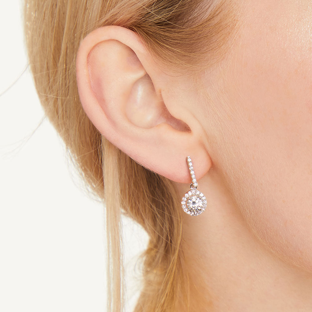 Sterling Silver Halo Drop Round Brilliant Cut Cubic Zirconia Earrings Set With A 1 Carat Centre Stone - JOOLS By Jenny Brown
