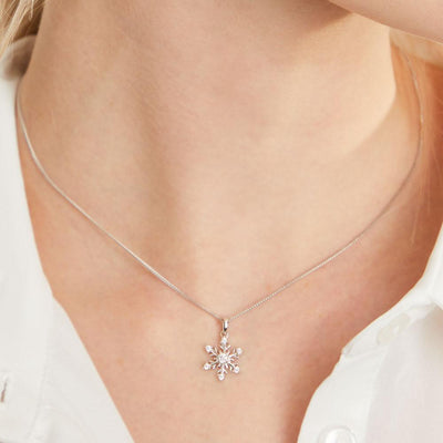 Sterling Silver  & Cubic Zirconia Snowflake NecklacePendants - JOOLS By Jenny Brown