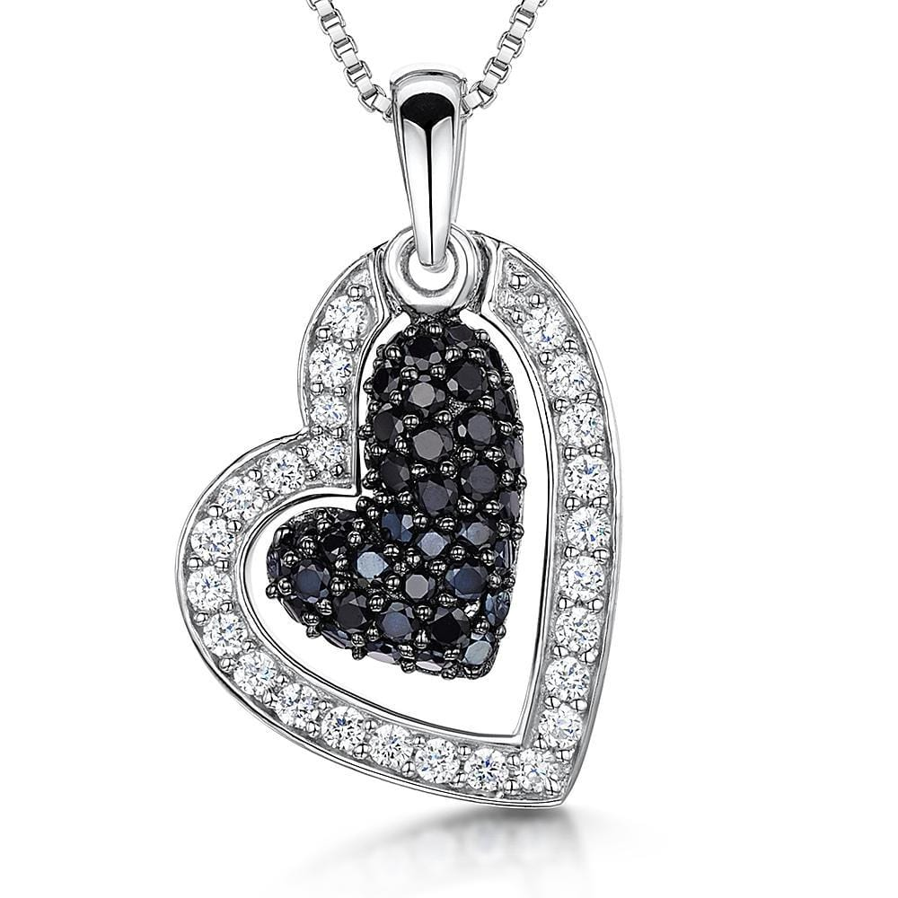 Sterling Silver White and Black  Open Heart Zirconia Pendant Set With A Suspended Stone Centre - JOOLS By Jenny Brown
