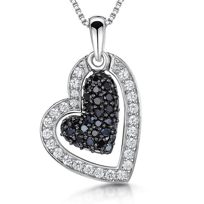 Sterling Silver White Open Heart Zirconia Pendant Set With A Suspended  Black Stone CentrePendants - JOOLS By Jenny Brown