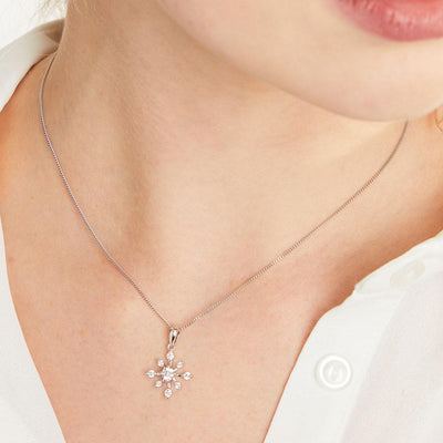 Sterling Silver Snowflake Pendant - Spiky Style With Cubic Zirconia StonesPendants - JOOLS By Jenny Brown