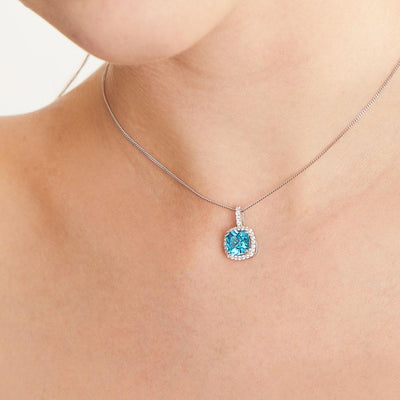 Sterling Silver Cushion Cut Pendant With Coloured Cubic Zirconia- Halo StylePendants - JOOLS By Jenny Brown