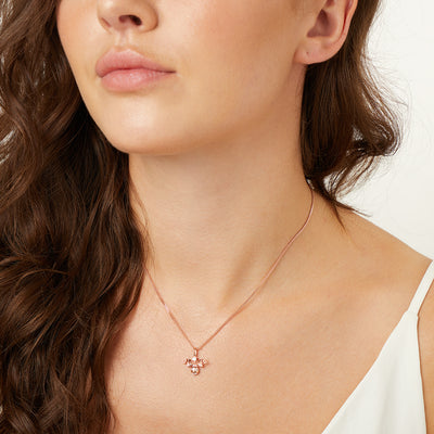 Rose Gold  Bee Necklace Set With White Cubic Zirconia Stones