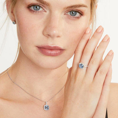 Sterling Silver And 3 Carat Cushion Cut Blue Topaz Zirconia RingRings - JOOLS By Jenny Brown