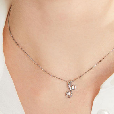 Sterling Silver Pendant- S Shape With Two Round Cubic Zirconia StonesPendants - JOOLS By Jenny Brown