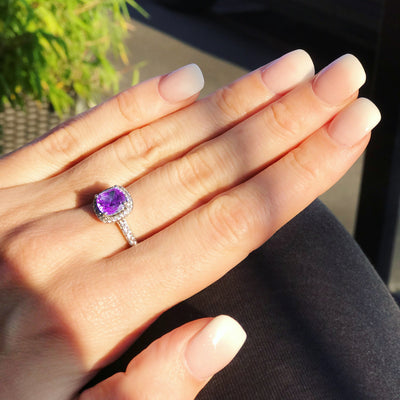 Sterling Silver And 3 Carat Cushion Cut  Amethyst Zirconia RingRings - JOOLS By Jenny Brown