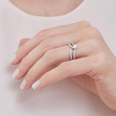 STERLING SILVER DOUBLE WISHBONE RING WITH A HALF CARAT SOLITAIRE CUBIC ZIRCONIARings - JOOLS By Jenny Brown