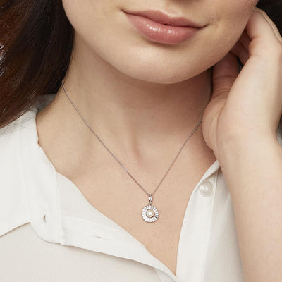 STERLING SILVER AND  PEARL NECKLACE IN A WHITE ZIRCONIA SURROUNDNecklace - JOOLS By Jenny Brown