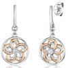 STERLING SILVER AND  ROSE GOLD FLOWER DROP EARRINGSEarrings - JOOLS By Jenny Brown