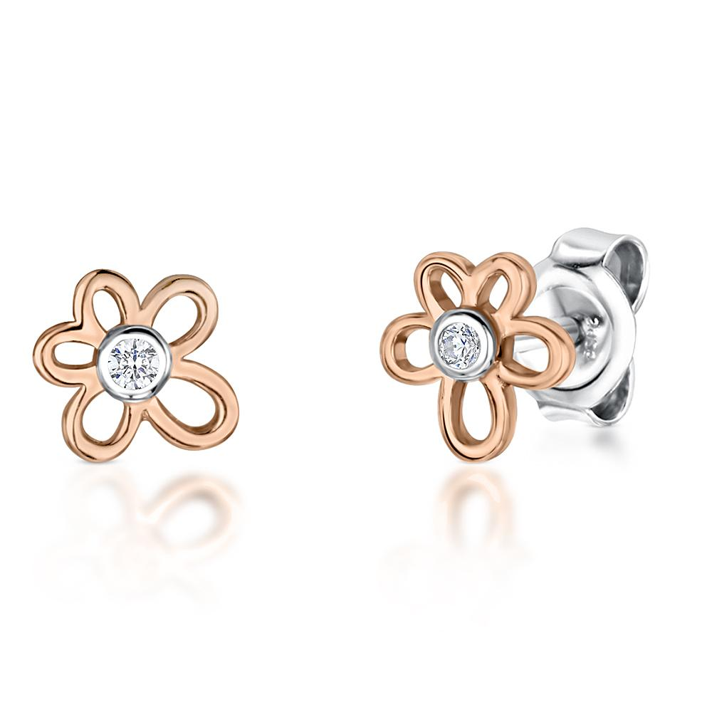STERLING SILVER AND  ROSE GOLD  THREE  FLOWER DROP EARRINGSEarrings - JOOLS By Jenny Brown