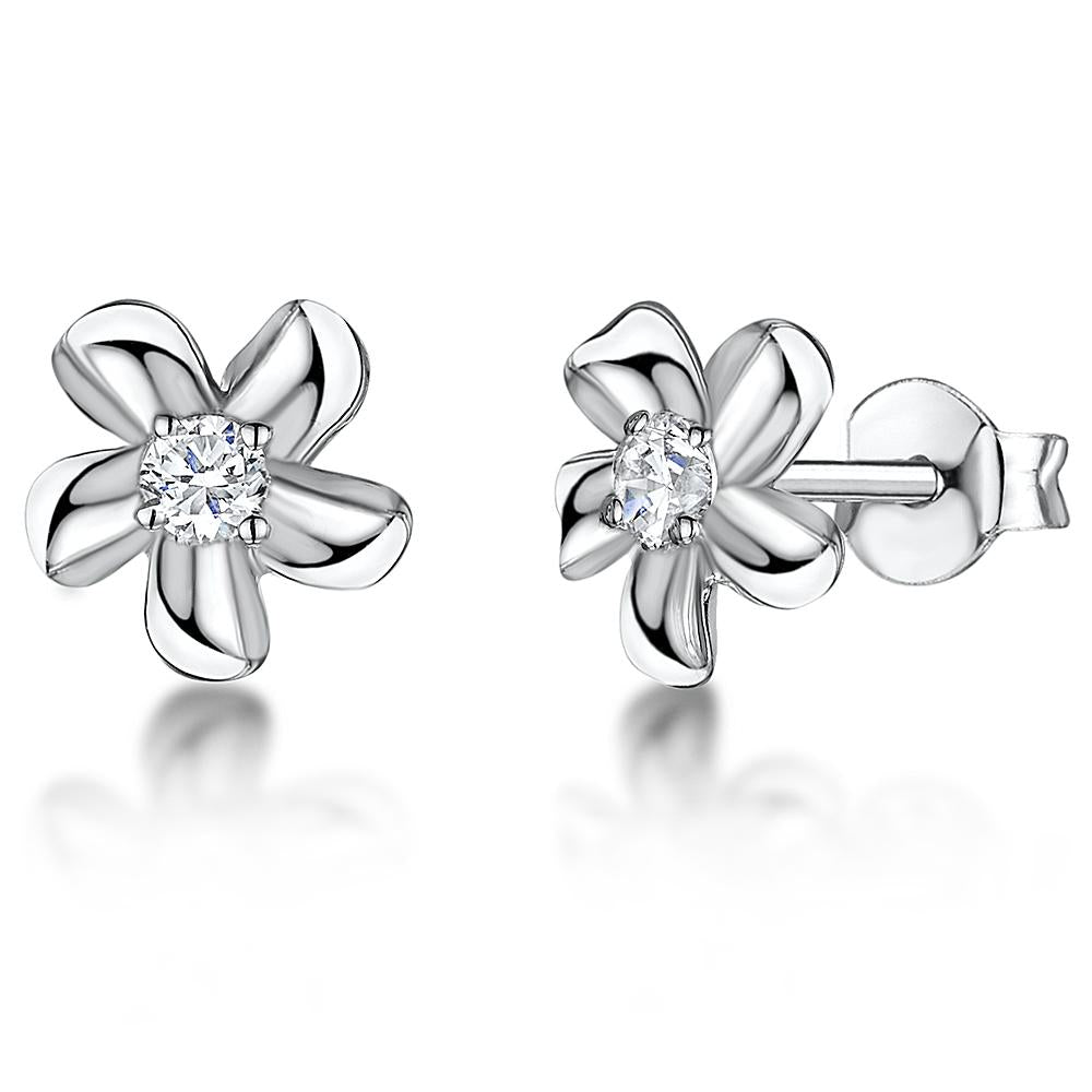 STERLING SILVER AND WHITE ZIRCONIA CURLED FIVE  FLOWER STUD EARRINGS WITH A  ZIRCONIA CENTREEarrings - JOOLS By Jenny Brown