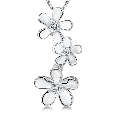 Sterling Silver Drop Pendant With Three  Polished Petals and A Cubic Zirconia Centrependants - JOOLS By Jenny Brown