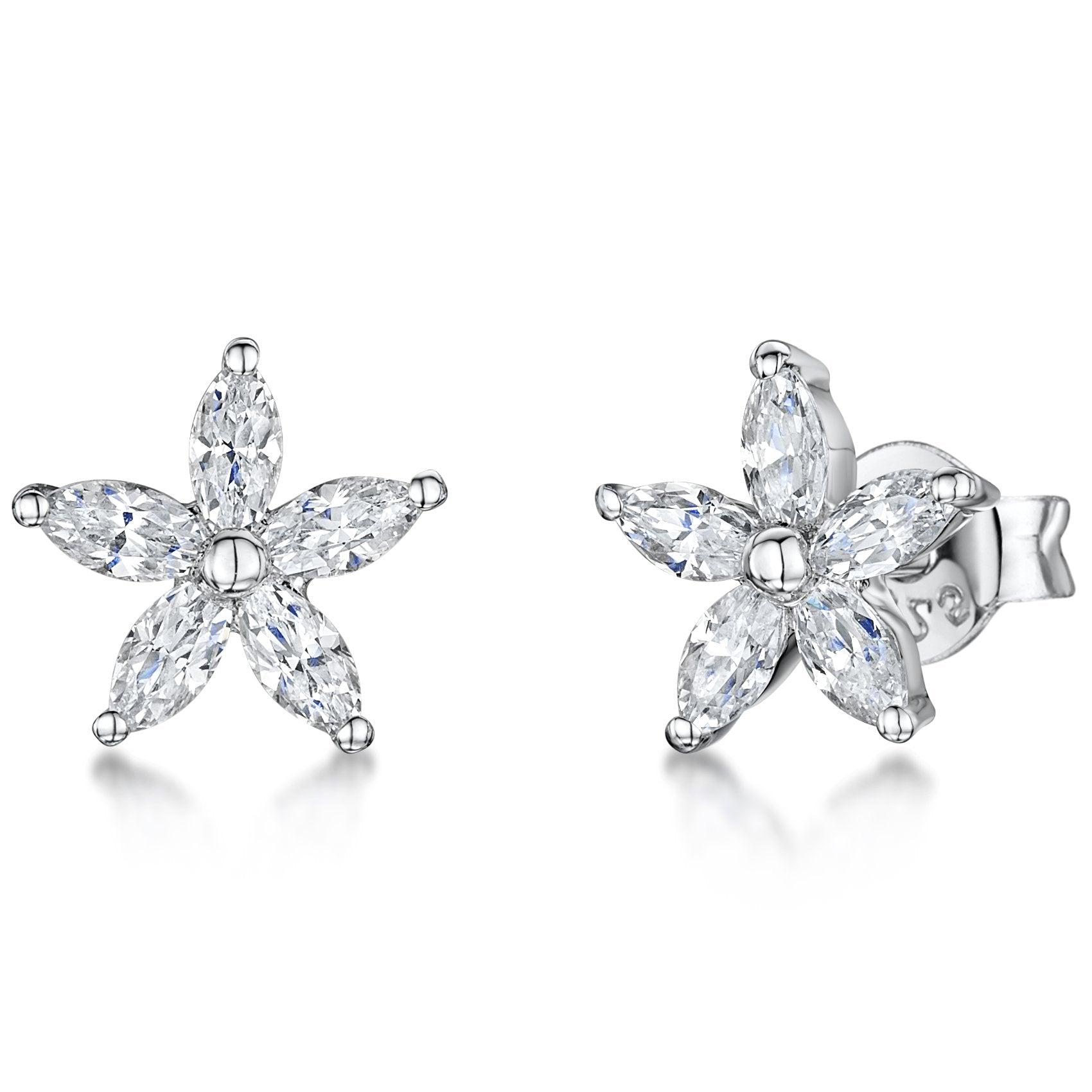 Sterling Silver And White Zirconia Five Stone  Flower Stud Earrings With A  Zirconia CentreEarrings - JOOLS By Jenny Brown