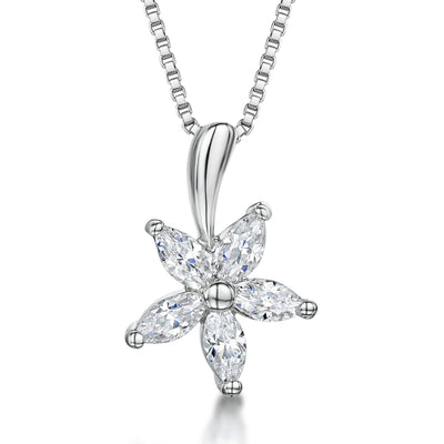 Sterling Silver  Five Petal Flower Set Each Set With Cubic Zirconia Stonespendants - JOOLS By Jenny Brown