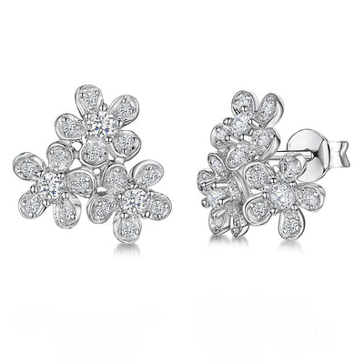 STERLING SILVER AND WHITE ZIRCONIA FLOWER CLUSTER EARRINGSEarrings - JOOLS By Jenny Brown