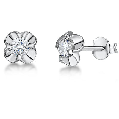 STERLING SILVER AND WHITE ZIRCONIA FLOWER EARRINGS WITH A  ZIRCONIA CENTRE AND POLISHED SUROUNDEarrings - JOOLS By Jenny Brown