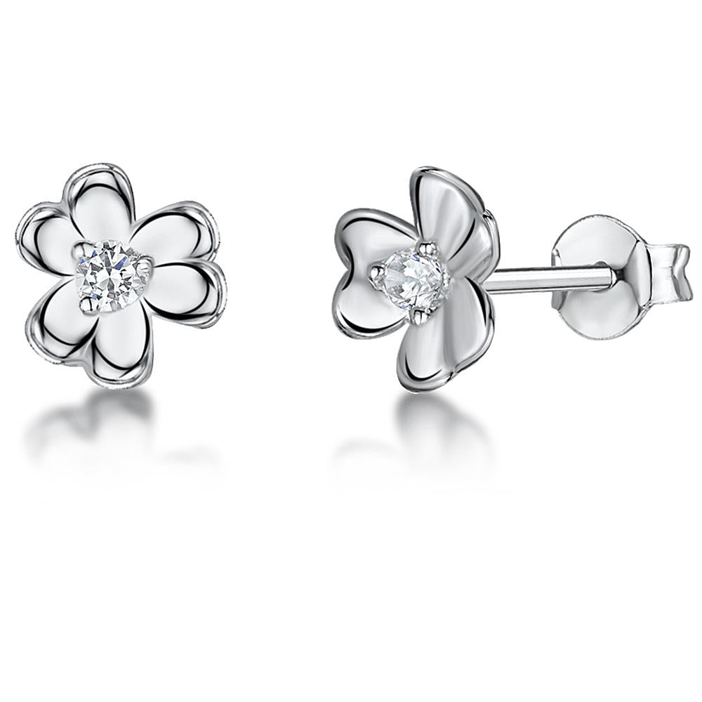 STERLING SILVER AND WHITE ZIRCONIA FLOWER EARRINGS WITH A  ZIRCONIA CENTREEarrings - JOOLS By Jenny Brown