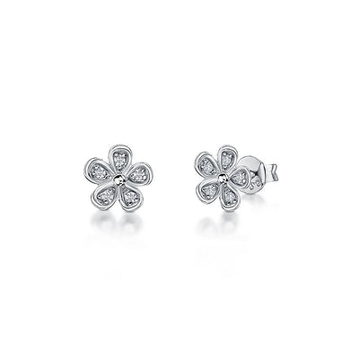 STERLING SILVER AND WHITE ZIRCONIA FLOWER EARRINGS WITH A  SILVER  CENTREEarrings - JOOLS By Jenny Brown