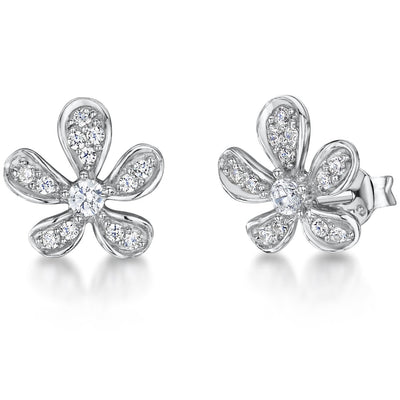 STERLING SILVER AND WHITE ZIRCONIA FLOWER PETAL EARRINGS WITH A  ZIRCONIA CENTREEarrings - JOOLS By Jenny Brown