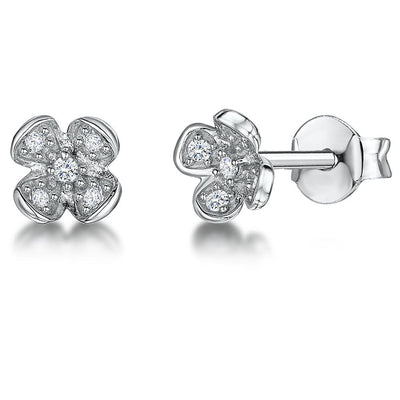 STERLING SILVER AND WHITE ZIRCONIA FOUR FLOWER PETAL EARRINGS WITH A  ZIRCONIA CENTREEarrings - JOOLS By Jenny Brown