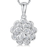 Sterling Silver And White Zirconia Layered  Flower Petal Necklace  With A  Zirconia CentrePendants - JOOLS By Jenny Brown